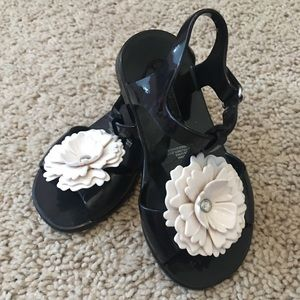 Black and white t-strap sandals